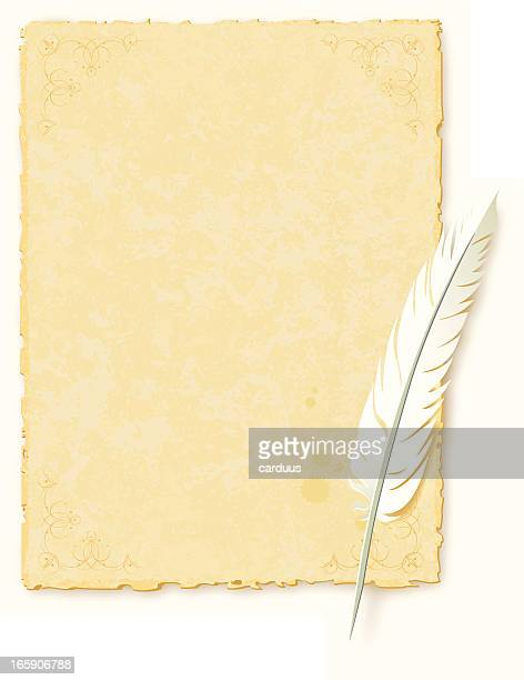 ancient paper topped with a bird feather pen - papyrus paper stock illustrations