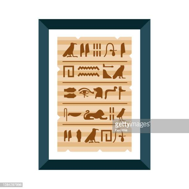 ancient papyrus icon on transparent background - papyrus paper stock illustrations