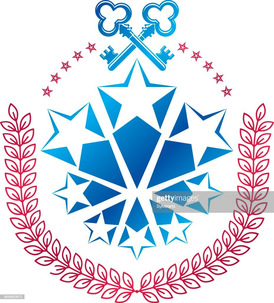 Ancient pentagonal Star emblem decorated with keys and laurel wreath, security theme. Heraldic vector design element, guard symbol.  Retro style label, heraldry.