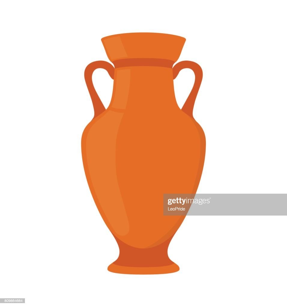 Ancient pottery, vase, jar, amphora. Made in cartoon flat style