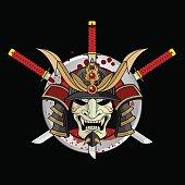 Ancient Samurai Warlord Helmet and Swords