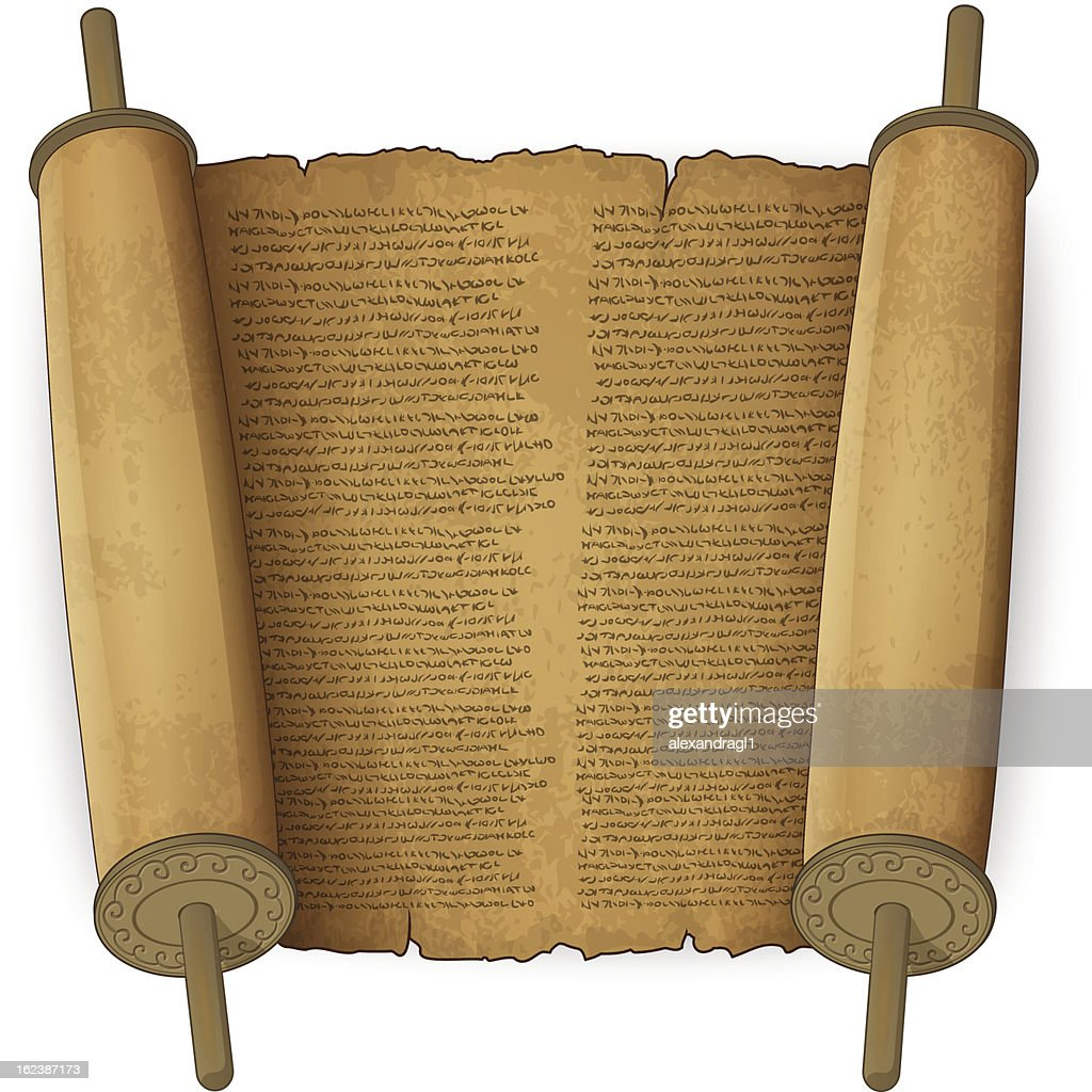 Ancient scrolls with text