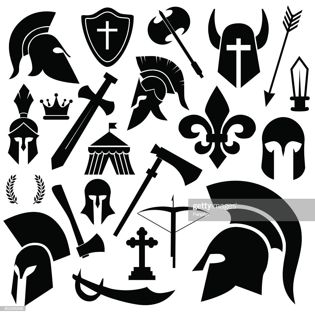 Ancient soldier, warrior, medieval weapon icon set.