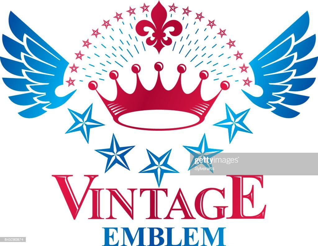 Ancient Star emblem decorated with imperial crown and laurel wreath. Heraldic vector design element, 5 stars award symbol.  Retro style label, heraldry .