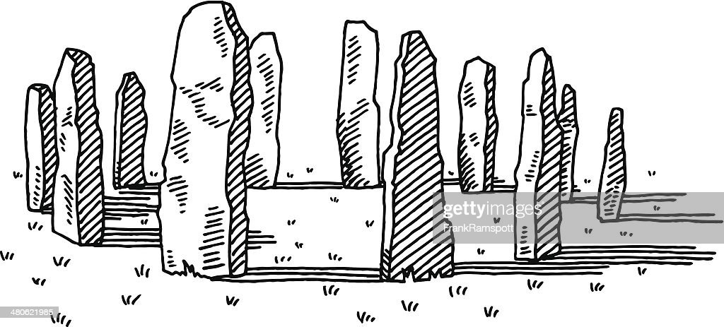 Ancient Stone Ring Drawing : stock illustration