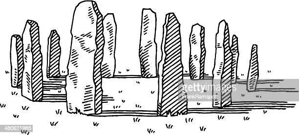 ilustrações de stock, clip art, desenhos animados e ícones de desenho de pedra antiga - megalith