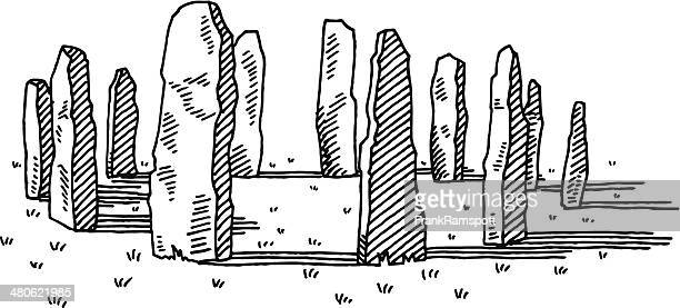 ancient stone ring drawing - paleolitico stock illustrations