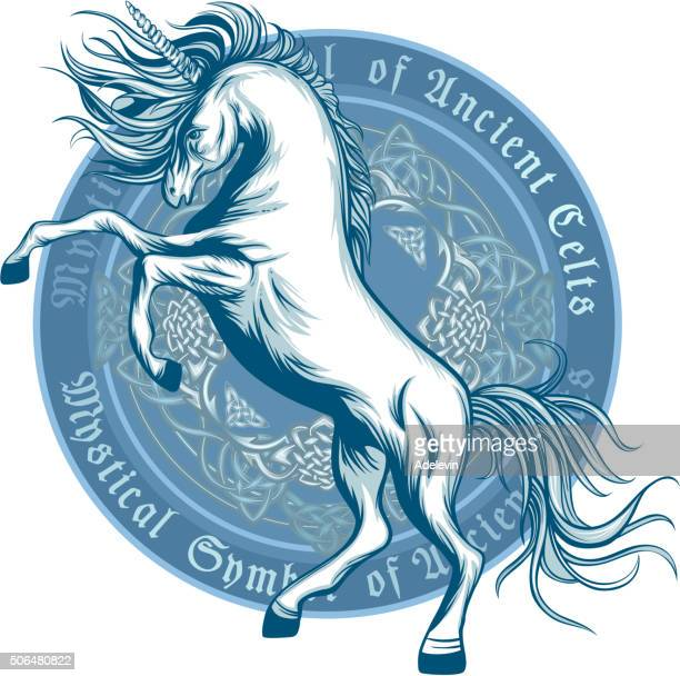 ancient symbol of unicorn - unicorn stock illustrations