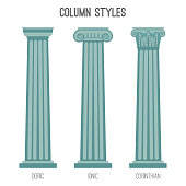 Ancient tall column styles isolated cartoon illustrations set