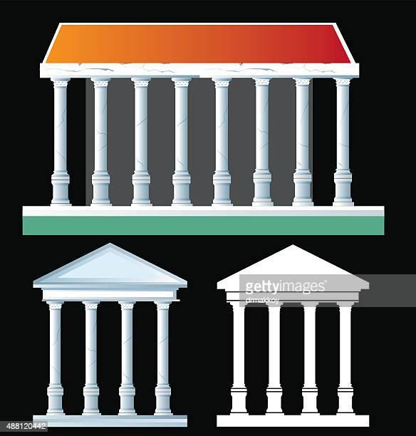 ancient temple - pediment stock illustrations, clip art, cartoons, & icons
