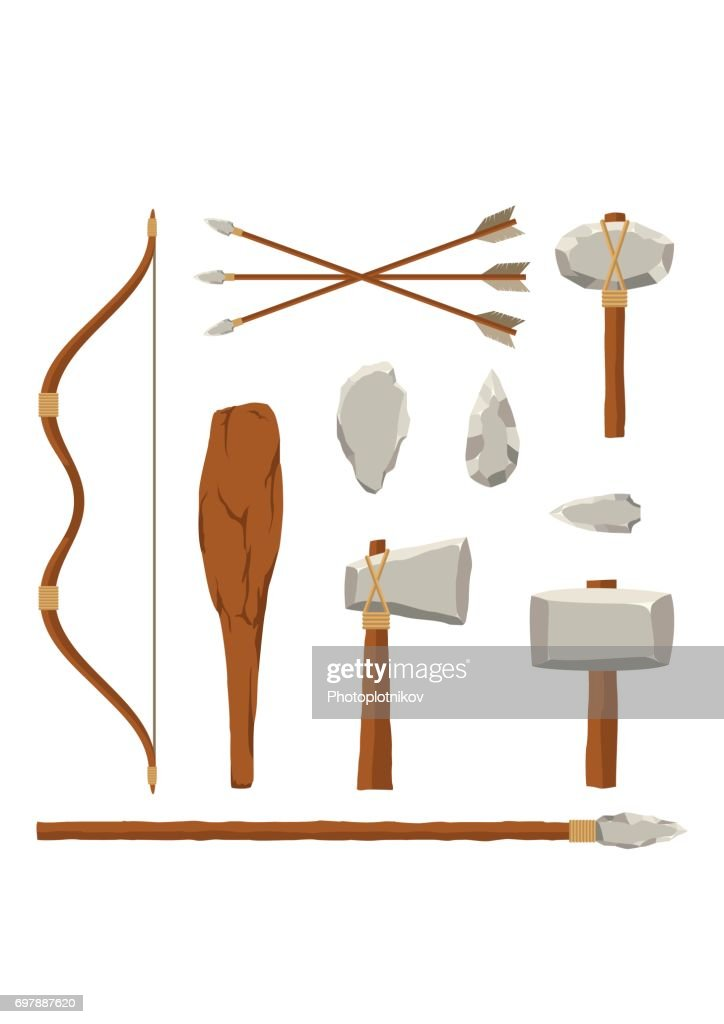 Ancient tools set isolated on white background. Hunting and military weapon prehistoric man. Primitive culture tool in flat style