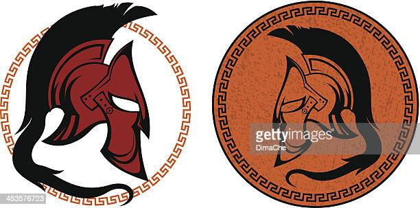 ancient warrior helmet - greek culture stock illustrations, clip art, cartoons, & icons