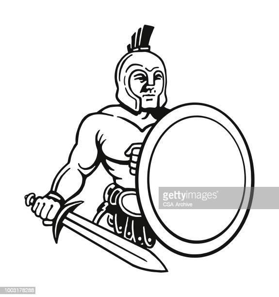 ancient warrior - gladiator stock illustrations, clip art, cartoons, & icons