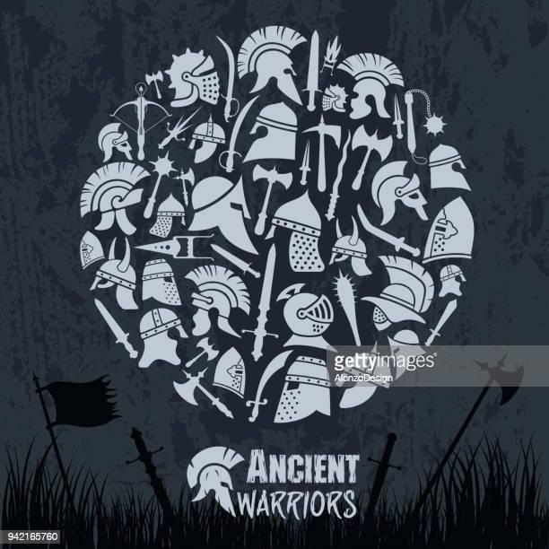 ancient warriors - hatchet stock illustrations, clip art, cartoons, & icons