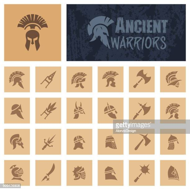 ancient warriors - greece stock illustrations