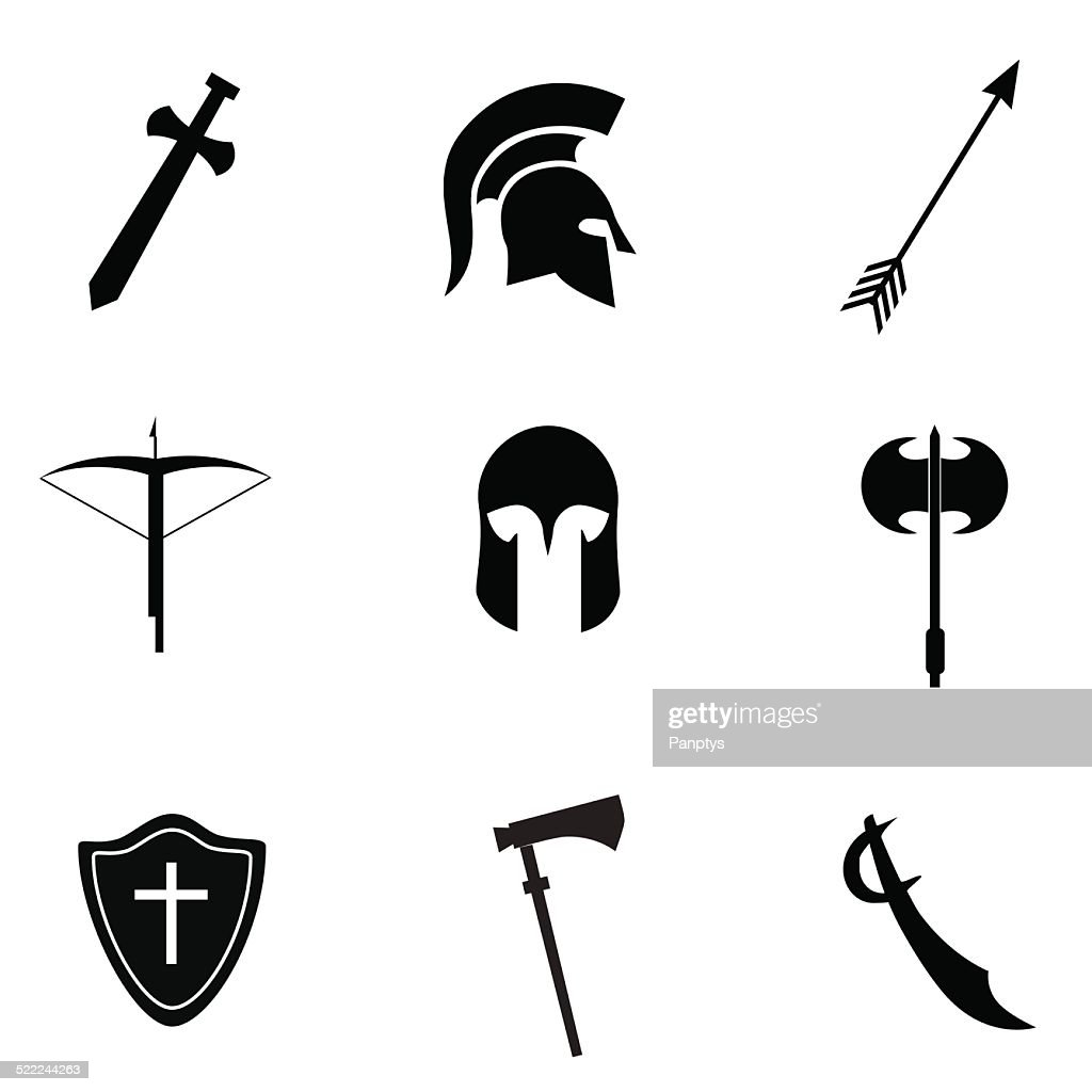 Ancient weapon icon set.