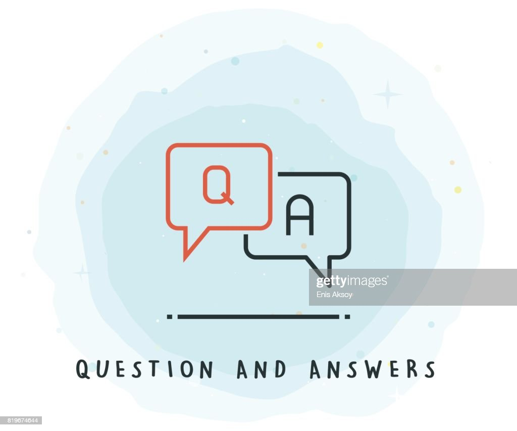Q and A Icon with Watercolor Patch : Stock Illustration