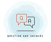 Q and A Icon with Watercolor Patch