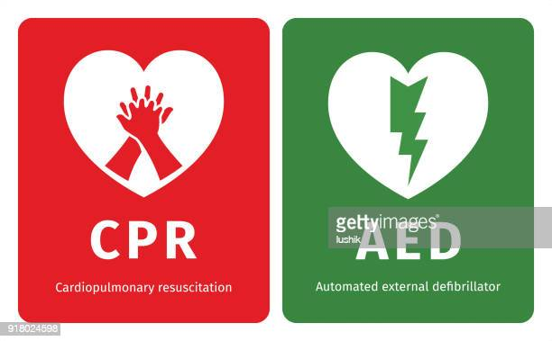 cpr and aed symbols - first aid stock illustrations