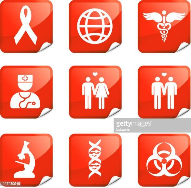 VIH e SIDA nove vector conjunto de ícones royalty free