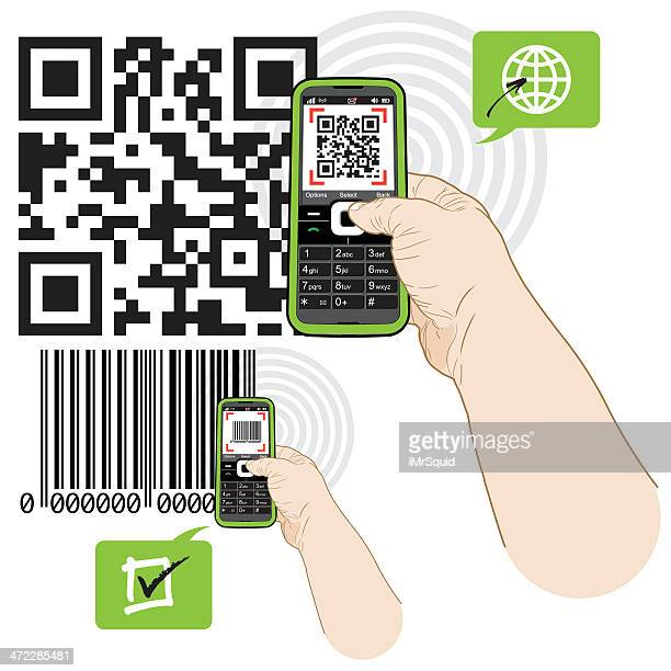 qr and barcode code mobile-phone scanning - forearm stock illustrations, clip art, cartoons, & icons