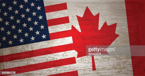 Usa and canada flag with grunge texture background vector art similar images publicscrutiny Image collections