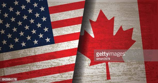 usa and canada flag with grunge texture background - canadian flag stock illustrations, clip art, cartoons, & icons