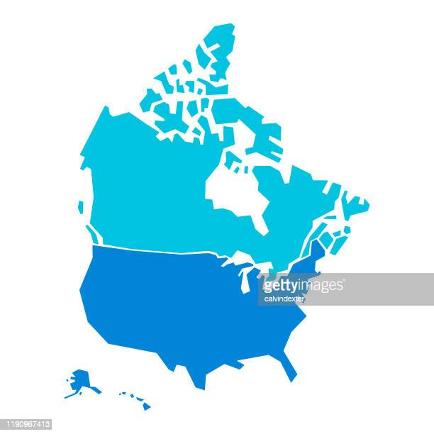 usa and canada map geometric shapes - north america stock illustrations