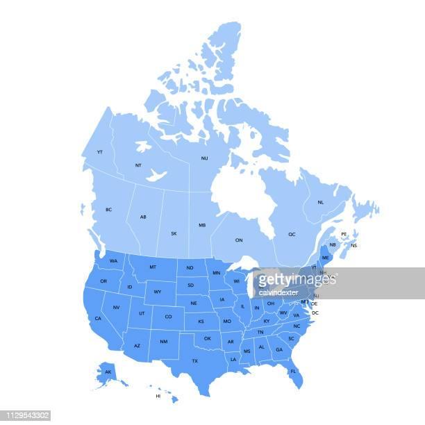 usa und kanada karte - nordamerika stock-grafiken, -clipart, -cartoons und -symbole