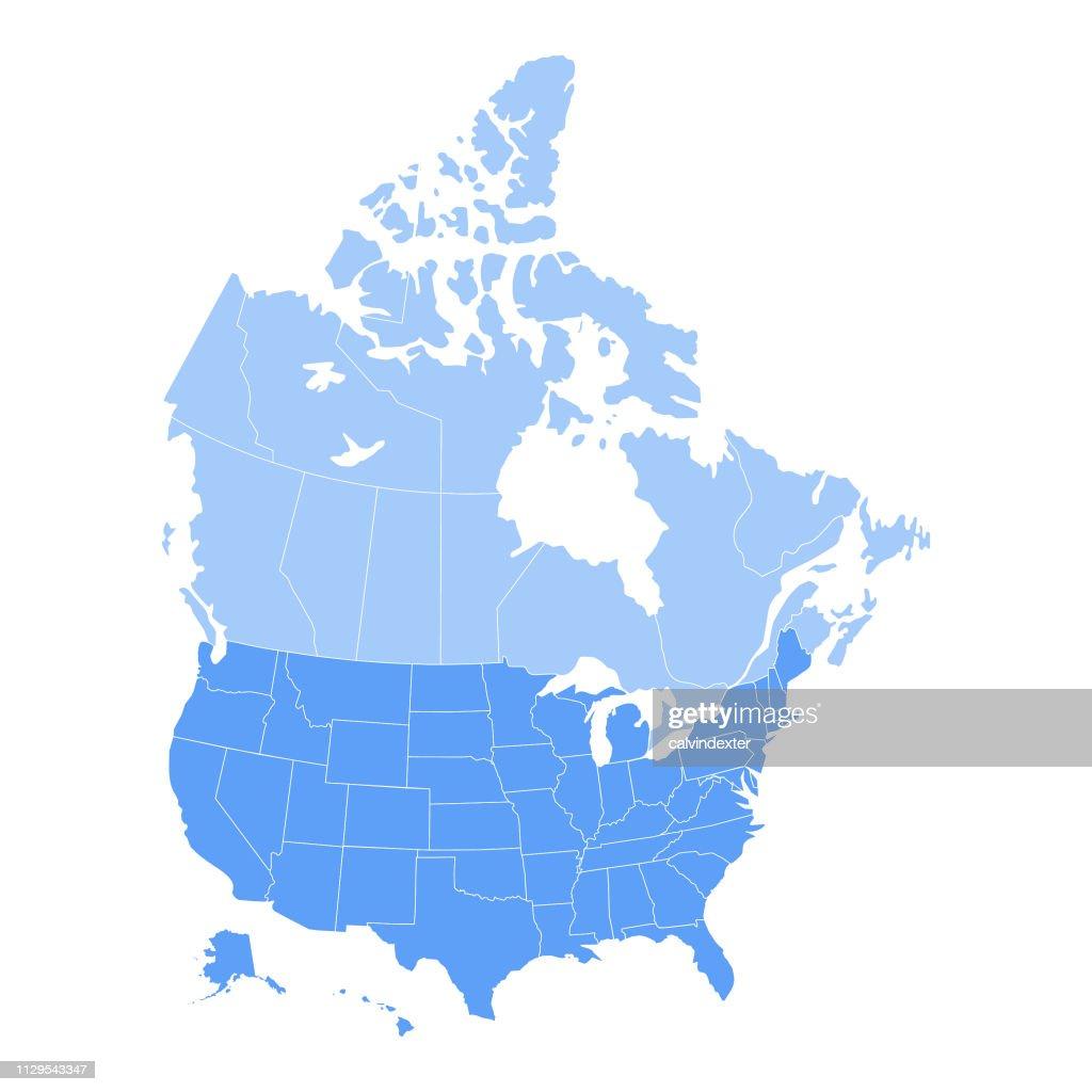 VS en Canada kaart : Stockillustraties