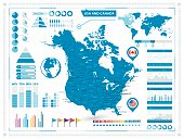 USA and Canada map with infograpchic elements