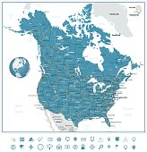 USA and Canada road map and navigation icons