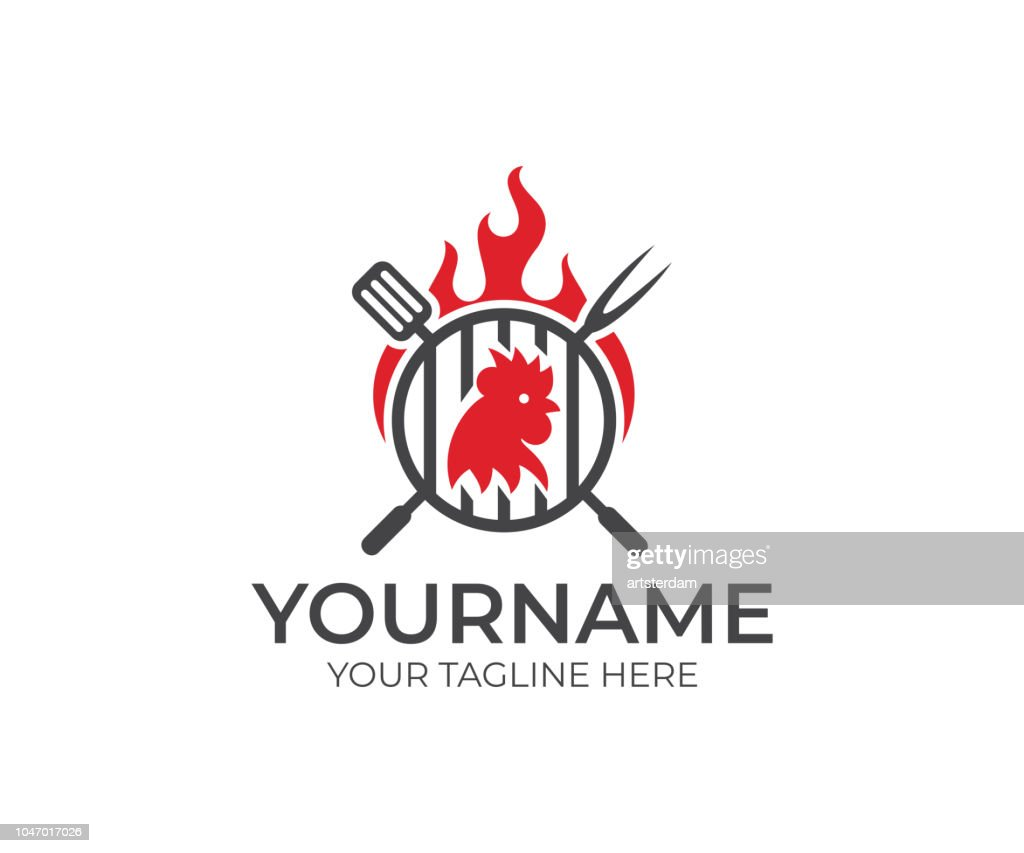 BBQ and chicken, cock, rooster with fire logo design