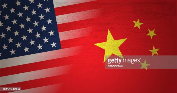 usa and china flag with grunge texture background - conflict stock illustrations