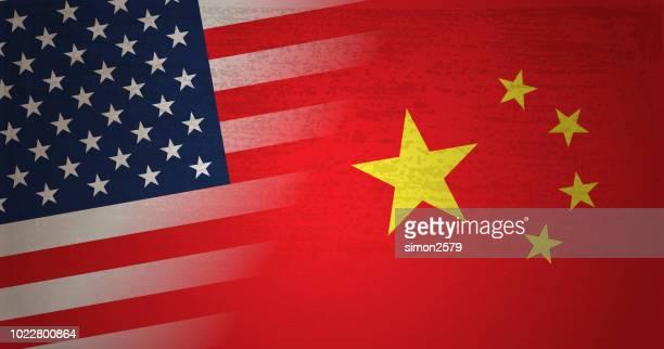 usa und china flagge mit grunge texturen hintergrund - china stock-grafiken, -clipart, -cartoons und -symbole
