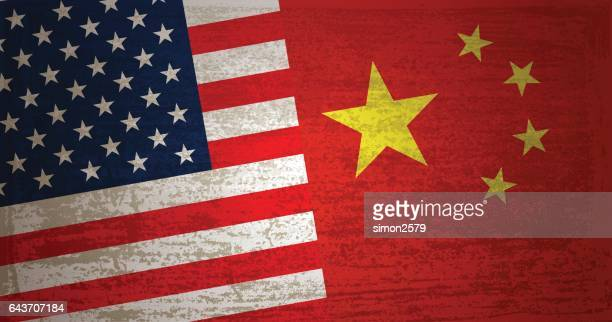 USA and China Flag with grunge texture background