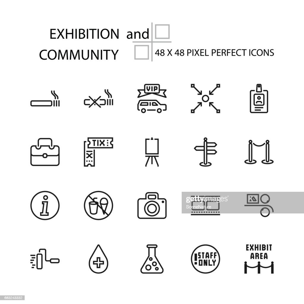 EXHIBITION and COMMUNITY vector line 48x48 Pixel Perfect Icons