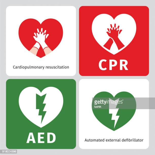 AED and CPR - emergency signs