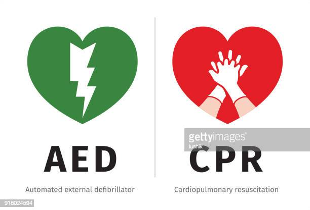 AED and CPR symbols isolated on white