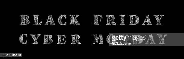 black monday and cyber monday impressed with a stamp on a white sheet of paper - vector illustration with uneven unfinished bad printed black paint traces - single capital letters in close up - graphic design template - cyber monday stock illustrations