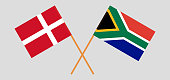 RSA and Denmark. The South African and Danish flags. Official colors. Correct proportion. Vector