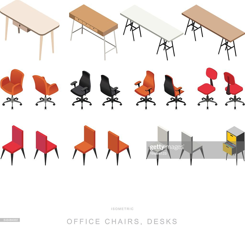 ISOMETRIC OFFICE CHAIRS and DESKS, vector design