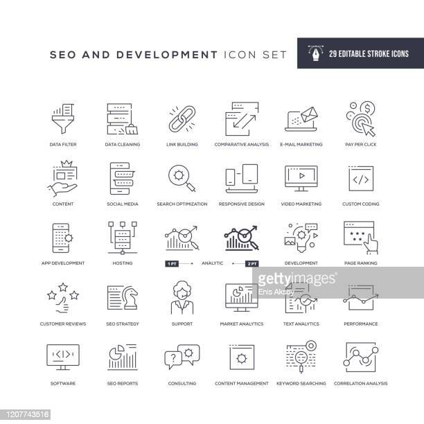 seo and development editable stroke line icons - computer software stock illustrations