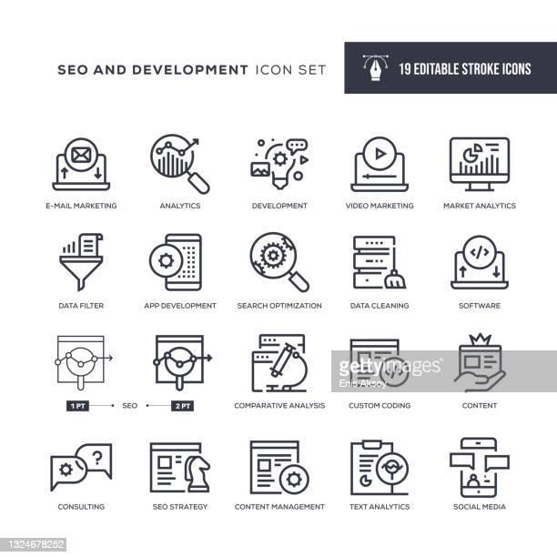 seo und entwicklung editable stroke line icons - responsives webdesign stock-grafiken, -clipart, -cartoons und -symbole