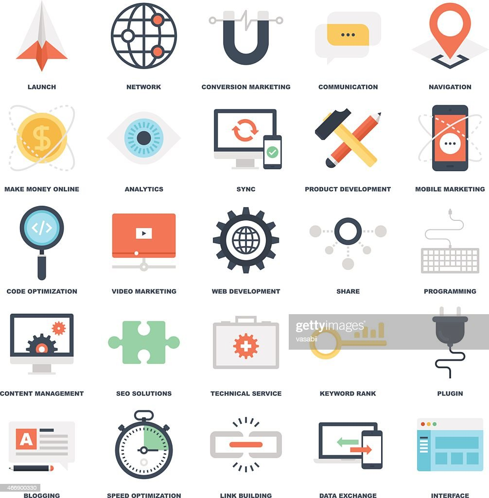 SEO and development graphic pictograms