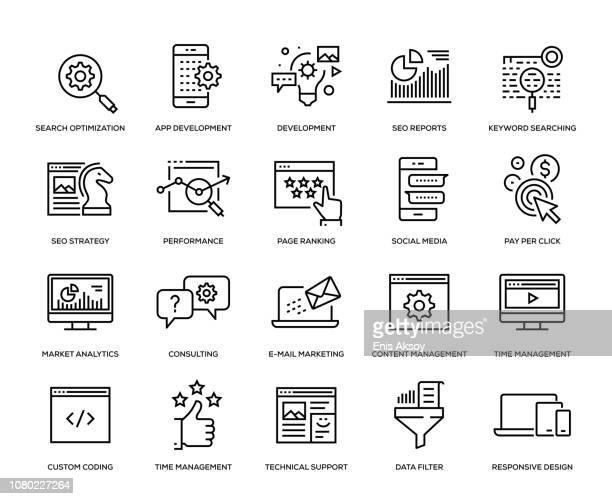 seo and development icon set - customised stock illustrations
