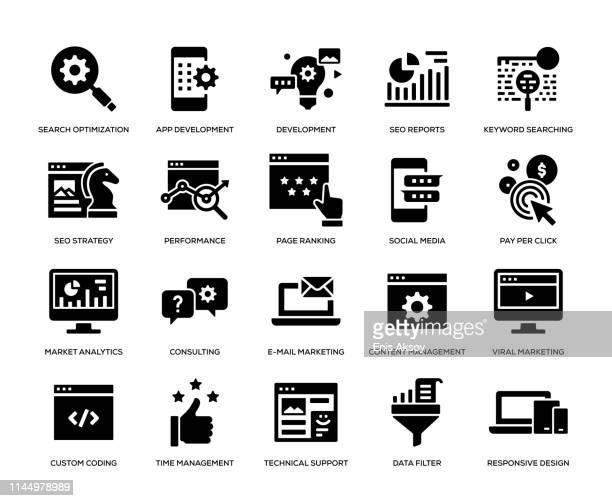 seo と開発のアイコンセット - 辞書点のイラスト素材/クリップアート素材/マンガ素材/アイコン素材