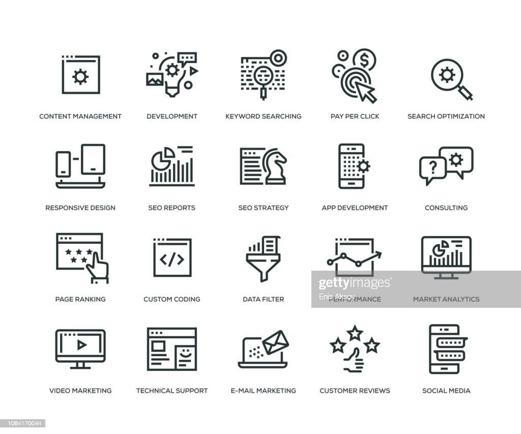 SEO and Development Icons - Line Series : Ilustração de stock