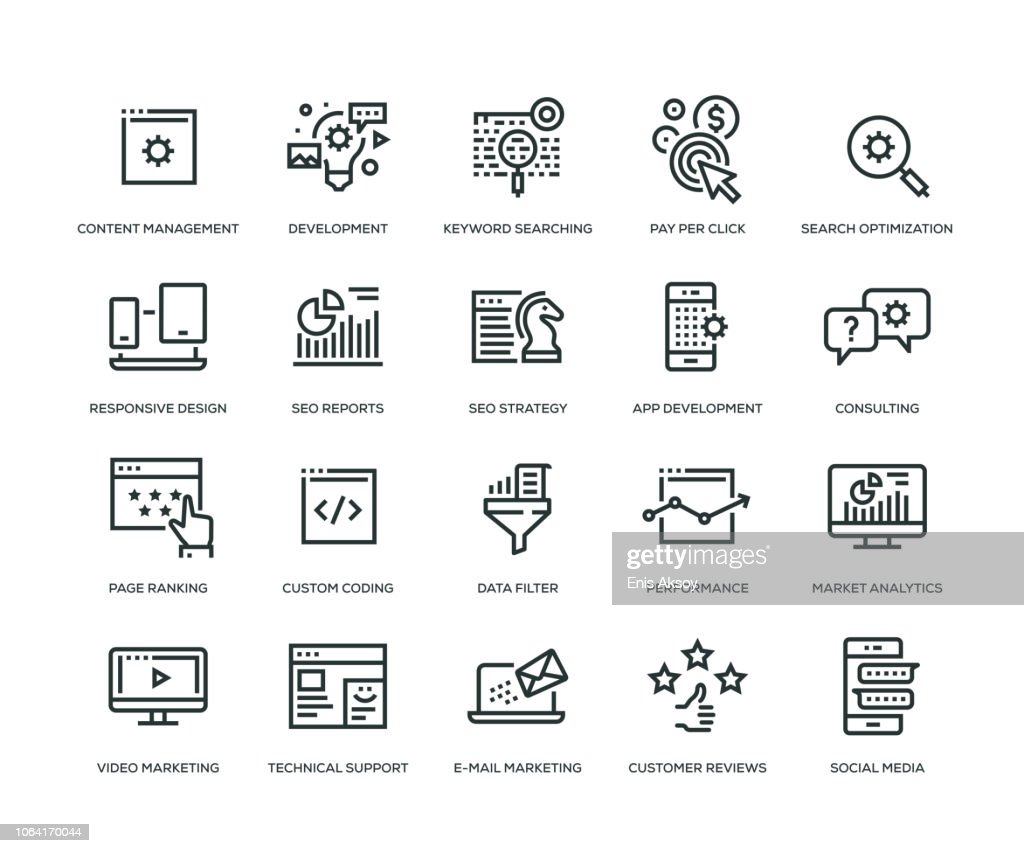 SEO and Development Icons - Line Series