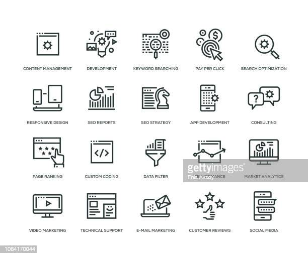 illustrazioni stock, clip art, cartoni animati e icone di tendenza di seo and development icons - line series - big data